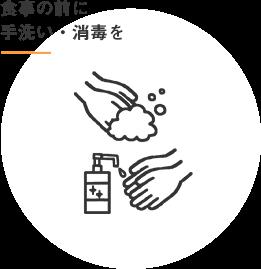 食事の前に手洗い・消毒を