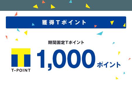 獲得Tポイント 期間固定Tポイント 1,000ポイント