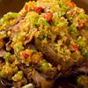 香辣里 - 料理写真:自家製発酵唐辛子やラッキョウの漬物を薬味に『発酵薬味で食べる皮付き揚げヤギ肉』