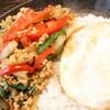 ガパオ食堂 - 料理写真:ガパオ食堂看板メニュー!鶏肉のバジル炒めゴハンです。タマゴを絡めて召し上がれ♪
