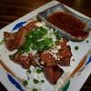 鉄火 - 料理写真:刺身で食べられるレバーを周りだけ炙った、レバーのレアたれ焼き 480円。とろけます~