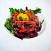佐五右衛門 - 料理写真:おつまみに是非!!霜降り牛タンのユッケ 林檎のソース 600円