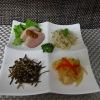 食彩工房 そばの華 - 料理写真:煎り生酢、海老マリネ、しらす昆布炒め、合鴨燻製