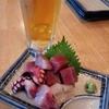 丸冨水産 - 料理写真:ぶつ刺盛り!5種類の鮮魚をぶつでゴロッと盛りまして、 ビールを飲んで、ぶつを食べて。最高ですっ!( ´∀`)b♪