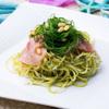 BLUEBlue - 料理写真:日替わりパスタ(オカヒジキと生ハムのジェノベーゼパスタ)