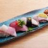 ときすし - 料理写真:ブリ三昧880円(ブリトロ、ブリ腹、炙り千枚漬け柚子、炙り塩スダチ、照り焼き山椒)