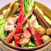 折おり - 料理写真:目の前で蒸し上がる「セイロ蒸し」(写真:タラバ蟹)