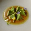 B - 料理写真:赤座エビのラヴィオリ ハーブ風味のブイヨン