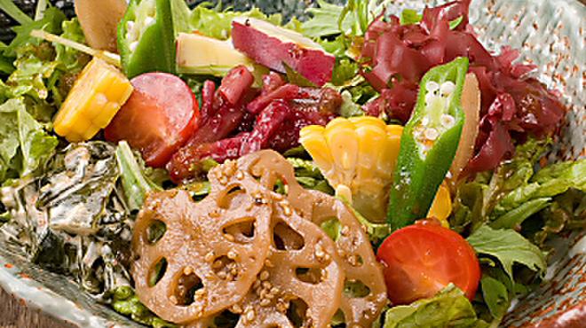 がじゅまる - 料理写真:がじゅまる発しあわせ~なサラダ その日のお惣菜を数種類トッピングでこのお値段! 480円