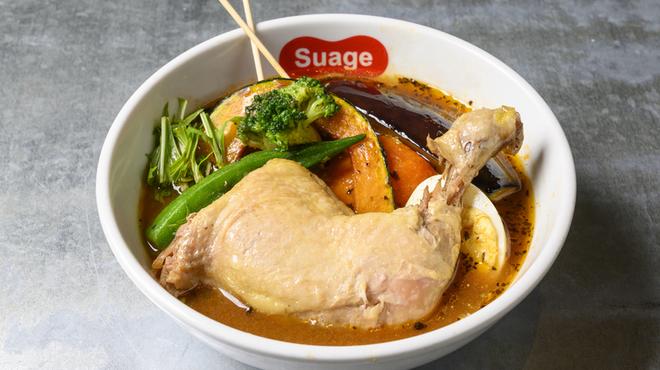 北海道スープカレー Suage - 料理写真:チキンレッグと野菜カレー(煮込み)