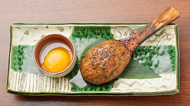 旨い肴と牛タンしゃぶしゃぶ お椀 - 料理写真:豊橋産大葉の手作りつくね