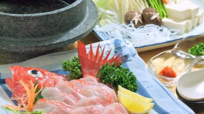 郷土料理 おが - 料理写真:【絶品】きんきのしゃぶしゃぶ~網走産の刺身用キンキを特製のタレでシャブシャブして下さい。
