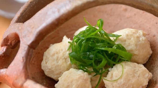 神楽 - 料理写真:『地鶏のつくね 酵素塩とポン酢で』