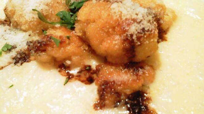 ナビリオ - 料理写真:タラ白子のパン粉焼き添え、パルメザンチーズ添え