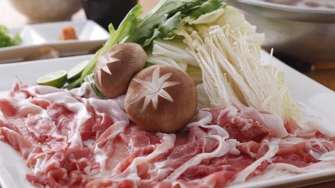 天びん棒 - 料理写真:あぐー豚しゃぶしゃぶ鍋 1480円(一人前)