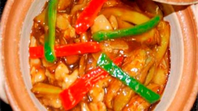 中国料理 福星楼 - 料理写真:鶏肉とナスビの小鍋 680円