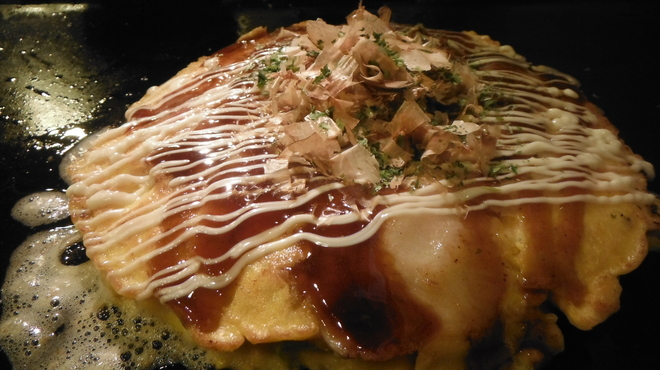 てっぱん大吉 - 料理写真:豚玉天焼き上がり 500円