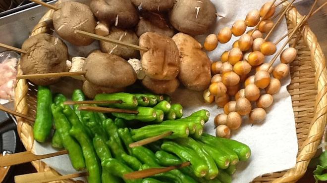 焼鳥居酒屋 風神雷神 - 料理写真:新鮮野菜!ぎんなんの皮むき一苦労(^_^)