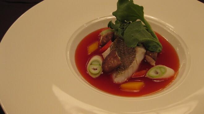 カミノハナ - 料理写真:季節の魚と彩り野菜、梅肉仕立ての甘酢