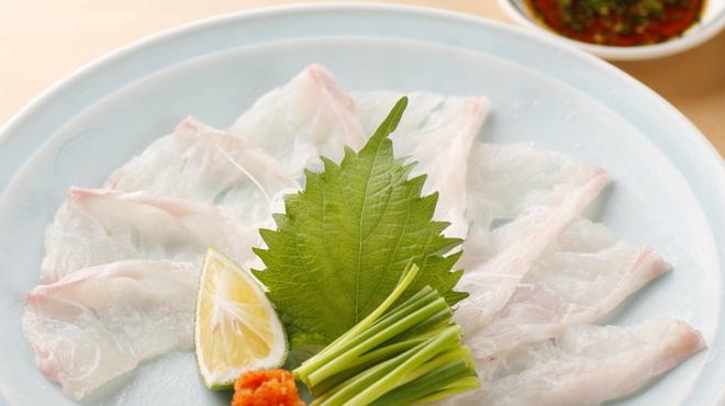 飯家(はんや)くーた - 料理写真:高級魚・あら(くえ)の薄造り。かなりの美味!