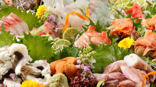桃の花 - 料理写真:オコゼお造り盛り合わせ