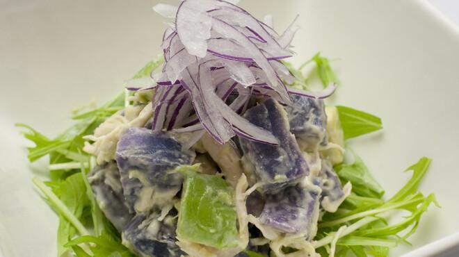 菜酒家FU-KU - 料理写真:読谷村産紅芋とアボガドのサラダ
