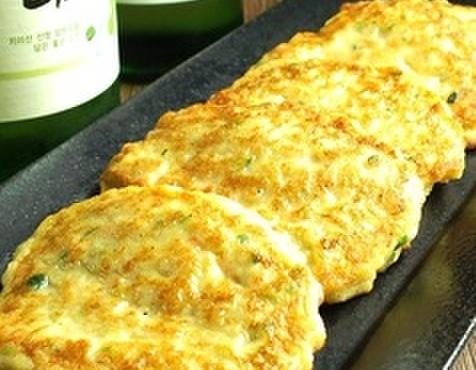チーズタッカルビ&タッカンマリ専門店ここや - 料理写真:とりチヂミ  とりミンチや野菜が入った韓国風つくねチヂミ 700円(税抜)
