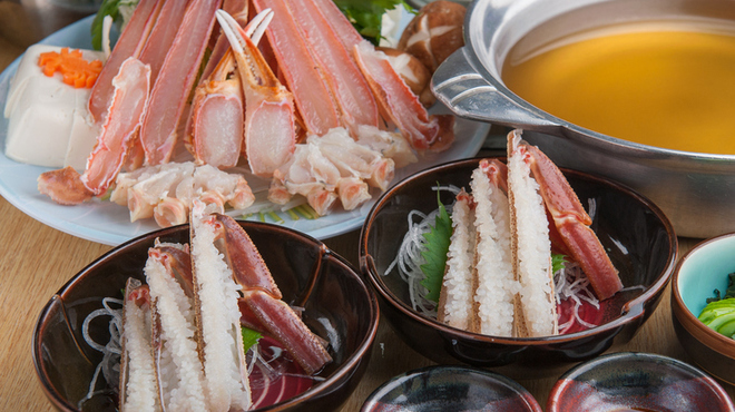 かに問屋 - 料理写真:ズワイ天ぷら・かに鍋コース