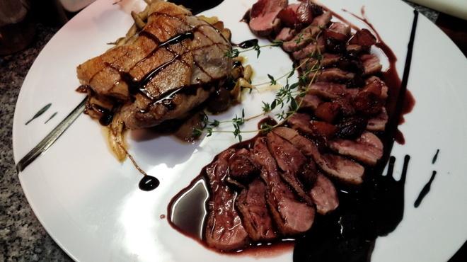ランコントル - 料理写真:鴨肉二種もものコンフィと胸肉のロティ