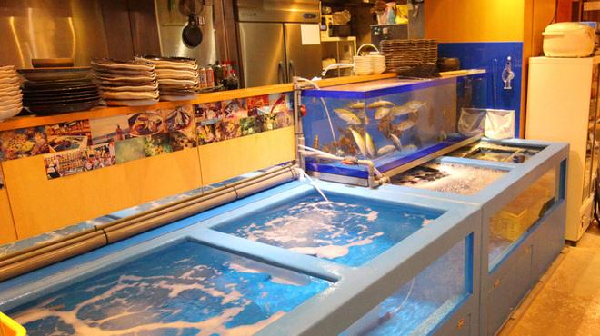 御茶ノ水イカセンター - 内観写真:入り口のイケスにはイカのほかにも色々泳いでいます。