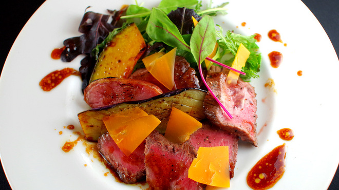 カフェ・ア・ラ・ティエンヌ - 料理写真:和牛イチボのタリアータ 季節野菜添え