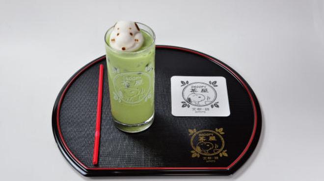 SNOOPY 茶屋 - 料理写真:スヌーピーのマシュマロドリンク-抹茶ラテ