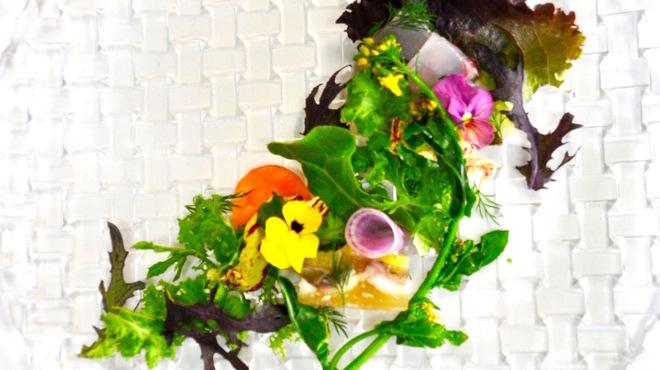 フィオッキ - 料理写真:天然真鯛と弓削剽柑のサラダ