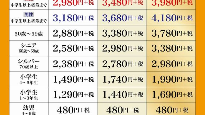 天山閣 - 料理写真:コース料金表