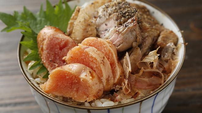 月光食堂 - 料理写真:豚ロースと明太子高菜の三色丼ぶり