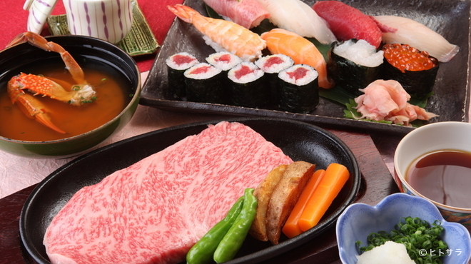 松喜すし - 料理写真:当地自慢の飛騨牛ステーキと寿司、グルメも満足する『飛騨牛会席コース』