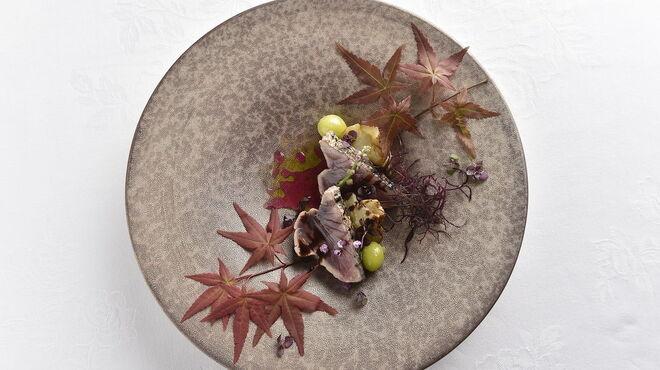 アルテリーベ - 料理写真:戻り鰹と秋茄子のフォンダン、シソの香り