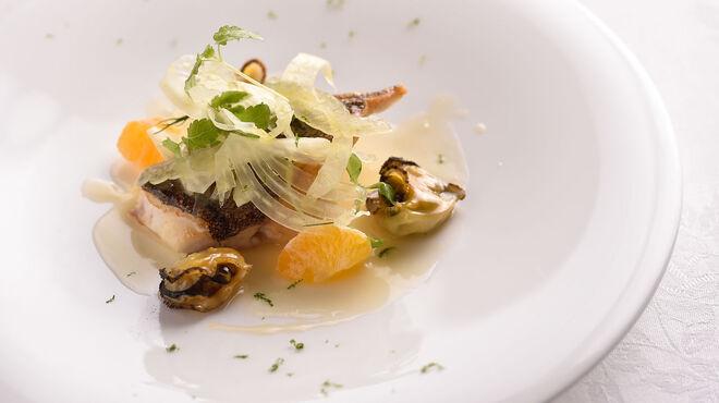 アルテリーベ - 料理写真:マハタのポワレ、青蜜柑と阿古屋貝のブールブラン