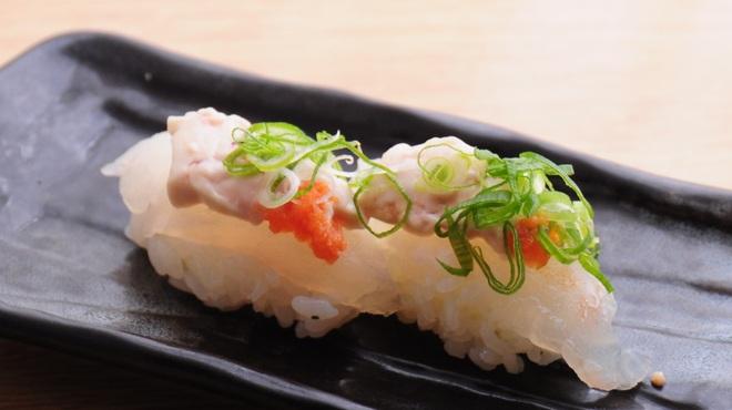 ときすし - 料理写真:カワハギ肝乗せ握り 一貫150円
