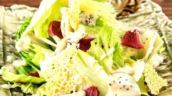 燦 - 料理写真:高原レタスと合鴨生ハムのシーザーサラダ
