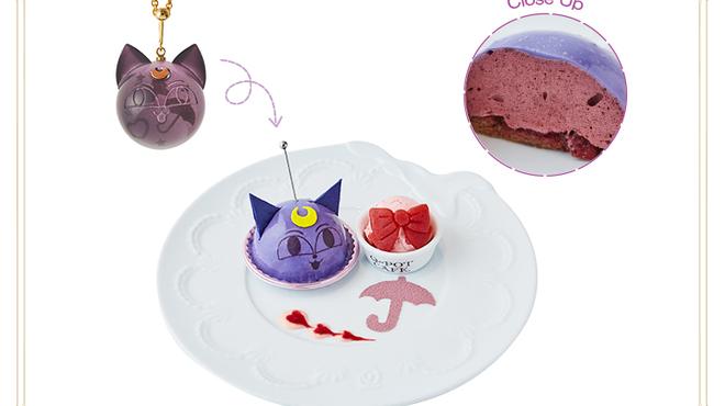 Q-pot CAFE. - 料理写真:ルナPキャンディボールネックレスをイメージしたプレートが登場!ブルーベリーとカシスのムースに、いちご果肉がアクセント。ちびうさをイメージしたストロベリーアイスクリームを添えて。