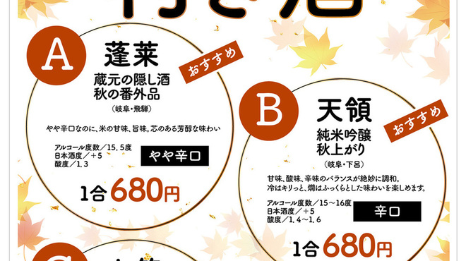 Ocean Grill noov - ドリンク写真:秋の日本酒飲み比べ