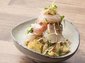 fours - 料理写真:シマアジ、焼ナス白味噌レモンソース和え