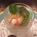 懐石フランス料理 グルマン橘 - タラバ蟹のジュレと百合根のクリーム