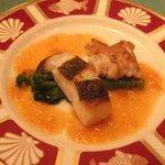 懐石フランス料理 グルマン橘 - 網野産鱈と白子のオリーブオイル焼き