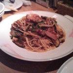 100652 - ベーコンとなすの唐辛子トマトソース・スパゲッティ