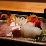茶屋 青柳 - 真鯛、アオリイカ、鮪の盛合せ