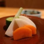 茶屋 青柳 - 人参、大根、蕪、胡瓜の漬物、鰹ふりかけ
