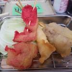 〇安 - 紅生姜、海老、牛串かつ
