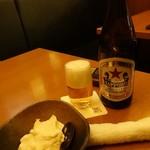 魚 枡 - サッポロラガー赤星瓶ビール(中瓶)600円(税抜)